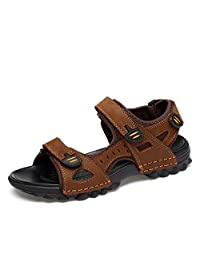 Pamray Men's Sport Sandals Synthetic Leather Strap Gladiator Velcro Shoes Open Toe Trekking Outdoor Summer Beach Water Slippers Black Brown US 5.5-12