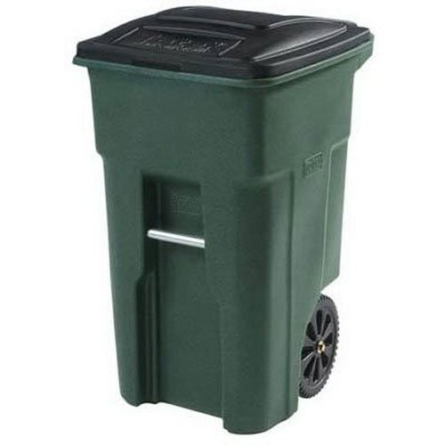Toter 025532-R1GRS Residential Heavy Duty 2-Wheeled Trash Can with Attached Lid, 32-Gallon, Greenstone