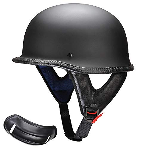 AHR DOT German Style Motorcycle Half Helmet Open Face Cruiser Chopper Biker Skull Cap Helmet Black L