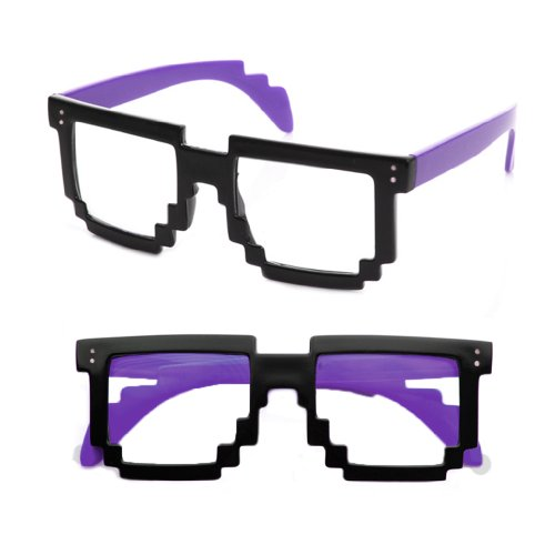 8-Bit Pixel Black & Purple Pixelated Glasses Clear Lens Nerd Video Game Geek - Purple Glasses Nerd