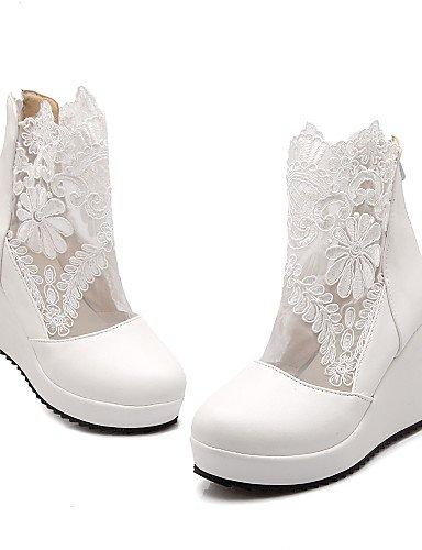 Encaje Tacón Zapatos Vestido Cuñas La 5 A Semicuero Uk8 Moda Redonda Cn43 De Blanco Mujer Punta 5 Xzz Negro Botas us10 Eu42 Cuña White SFtwfqxSO