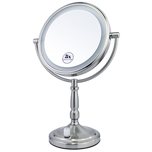 Gloriastar 5X Magnifying Lighted Makeup Mirror, 8 Inch Two Sided White Daylight LED ShadowFree Vanity Mirror,Battery,Brushed Nickel