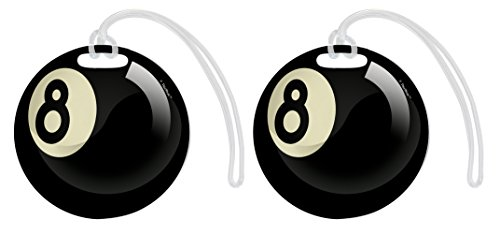 Billiards Accessories Pool Ball Luggage Tag 8 Ball Pool Cue Case Gifts Pool Cue Holder Tag 2-pack Aluminum Circle Luggage Tags