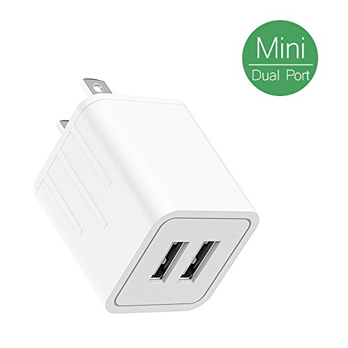 Price comparison product image USB Wall Charger, Kakivan 2.1A/5V Double USB Travel Wall Charger with Smart Technology, Micro AC Adapter for iPhone X/8/7/6s/6 Plus, iPad Pro/Air Galaxy S8 Edge Plus, S5, Nexus & more
