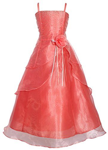 Wonder Girl Angelica Big Girl's Organza Tea Length Rhinestone Long Dress 8 Coral