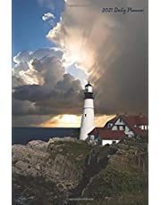 """2021 Daily Planner: Lighthouses 2021 Daily Calendar With Goal Setting Section and Habit Tracking Pages, 6""""x9"""""""
