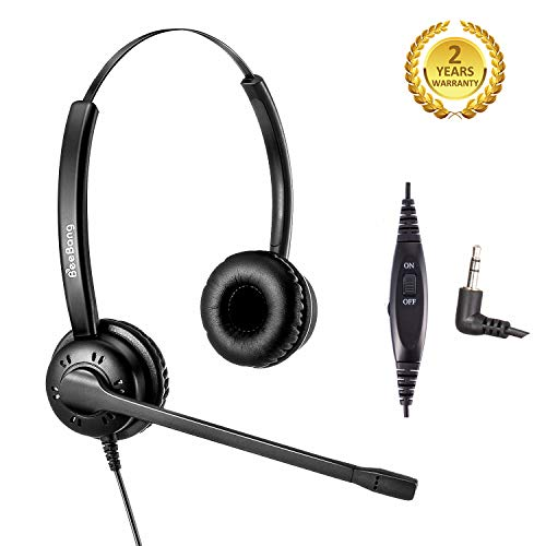 2.5mm Phone Headset with Microphone Wired Telephone Headset for Avaya Cisco Panasonic Polycom AT&T