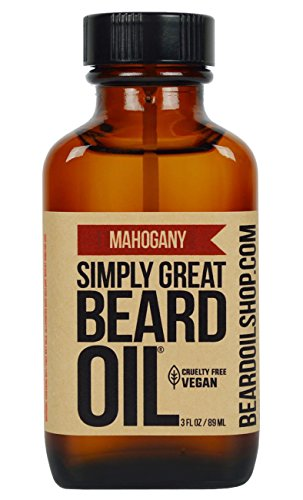 Simply Great Beard Oil – MAHOGANY Scented Beard Oil – Beard Conditioner 3 Oz Easy Applicator – Natural – Vegan and Cruelty Free Care for Beards – America's Favorite
