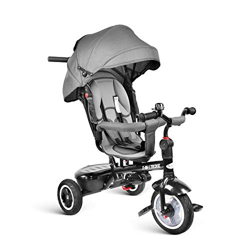 Infant Tricycle - besrey Kids Tricycle 7-in-1 Baby Trike Tricycle with Push Handle/Wheel Clutch/Rotating and Reclining Seat for Children to Sleep in - Gray