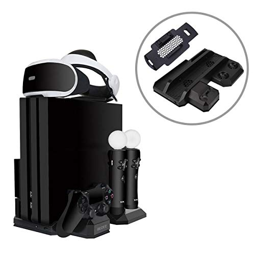 PS4 Stand PSVR Vertical Stand For PS4 Regular / Slim / Pro Console /PSVR Controller Charging Station,Cooling Fan Cooler,Storage For Sony PlayStation 4 Move Motion DualShock 4 Charger VR Headset Holder