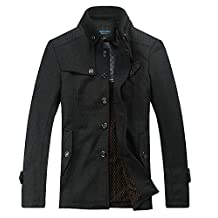 Bininbox Men's Cardigan Short Wool Coat Slim Fit Lined Winter Jacket
