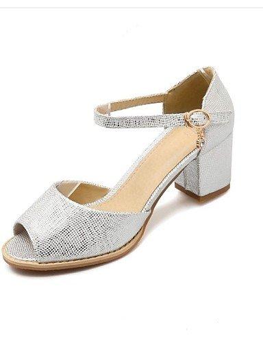 LFNLYX Zapatos de mujer-Tacón Robusto-Punta Abierta-Sandalias-Exterior / Oficina y Trabajo / Casual-Materiales Personalizados-Rosa / Plata / Oro Pink