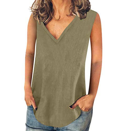 Haalife◕‿Womens V Neck Tank Tops Sleeveless Loose Dressy Workout Shirts Lightweight Scoop Neck Muscle T-Shirt Green