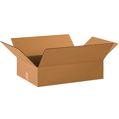 Aviditi 2014475PK Flat Corrugated Boxes, 20'' L x 14'' W x 4'' H, Kraft (Pack of 75) by Aviditi