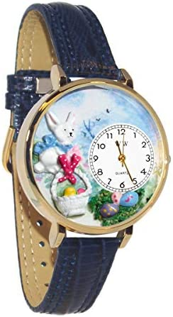 Whimsical Watches Women s G-1220016 Easter Eggs Baby Blue Leather Watch