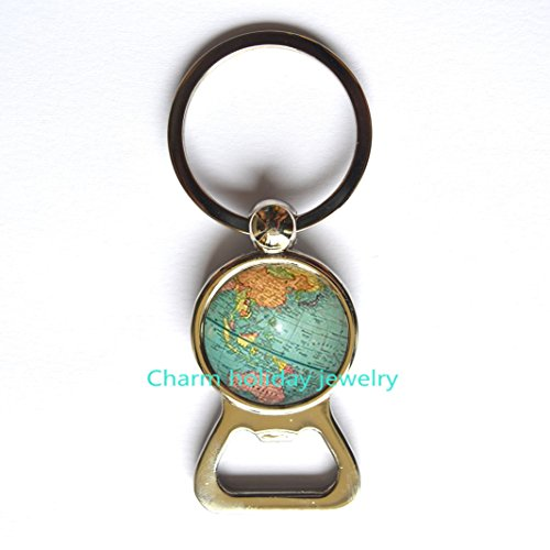 World Map Globe Bottle opener, Earth Keychain, Globe Bottle opener, Map Keychain, world travel adventurer gift, Antique Map Keychain, men's Keychain