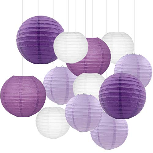 12PCS Paper Lanterns with Assorted Colors and Sizes Paper Lanterns Decorative,Chinese/Japanese Paper Hanging Decorations Ball Lanterns Lamps for Home Decor, Parties, and Weddings (Purple)