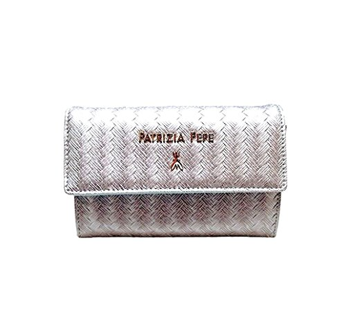 Borsa mini pochette Patrizia Pepe con tracolla stampa intreccio - Silver