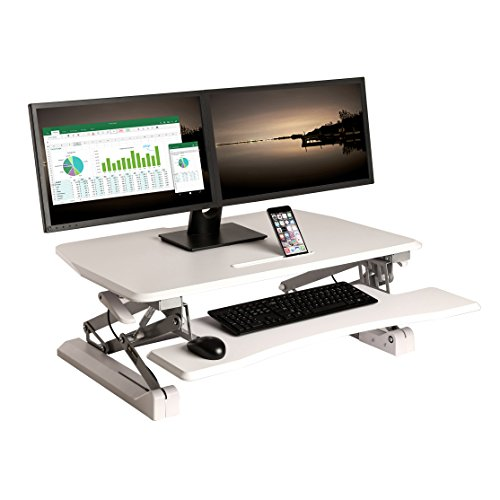 "Seville Classics OFF65808 Airlift Desk Converter Height Adjustable to 19.1 Inches Dual Monitor Riser with Keyboard Tray and Smartphone/Tablet Stand, 35.4"" Wide Tabletop, White"