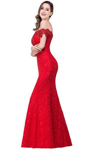 Weinrot Lace Off Abendkleid Elegant Meerjungfrau Figurbetont Damen Schulter Misshow Floral Prom ZW4nqHfwv