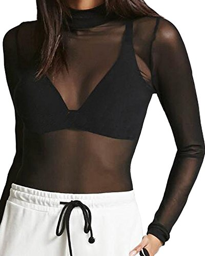 d9542c3d874 CLOZ Women's Sexy See Through Sheer Mesh Tops Long Sleeve T Shirts Blouse