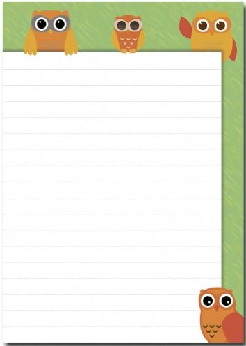 2 Stück Schreibblöcke Eulen orange / grün je 50 Blatt Format DIN A5 Notizblock 7010
