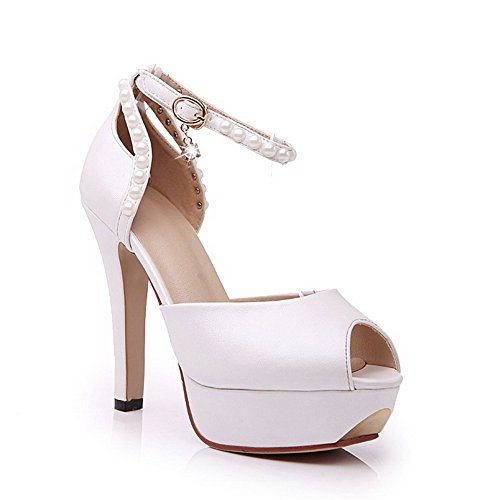 Aalardom Womens Peep Toe Spikes Stilettos Sandali Morbidi Fibbia In Materiale Solido Bianco