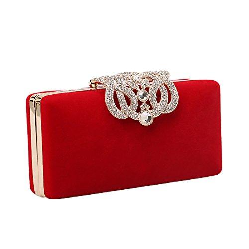 Velour Rhinestone Evening Purse Handbag Sequined Clutch Bag For Women - Velour Rhinestone
