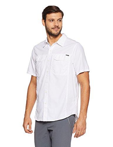 Columbia Mens Silver Ridge Short Sleeve Shirt, Large, White