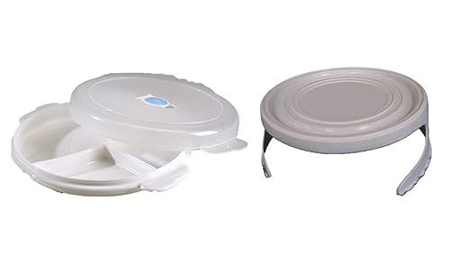 1 Microondas Plato con Tapa y Purgado de aire Color blanco + ...