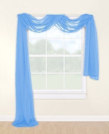 "LuxuryDiscounts Beautiful Elegant Solid Sky Blue Sheer Scarf Valance Topper 38"" X 216"" Long Window Treatment Scarves"