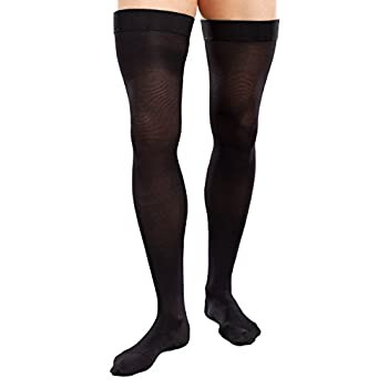 Therafirm Opaque Men's Thigh Highs with Firm (30-40mmHg) Compression (Medium Long, Black)