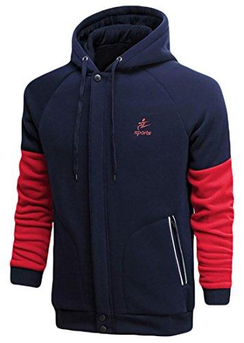 X-Future Men's Athletic Zip-Up Color Block Hoodies Hooded Sweatshirts Jackets Navy Blue US XXL