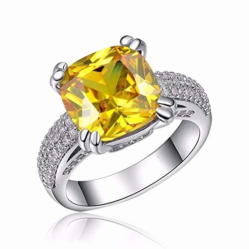 CACTUS Female Popular Engagement Zircon Crown Zircon Jewelry Ring Creative Filigree Inlaid Yellow Jewelry Ring, Platinum&Yellow, 8