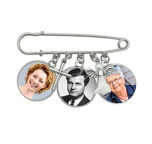 Three Frame Double Sided Photo Memorial Pin w/ Angel and Cross Charm For Weddings Boutonniere or Bouquet Brooch Pin