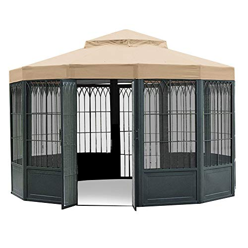 (Garden Winds LCM507B-RS SAMS Club Sunhouse Gazebo Riplock 350 Replacement Canopy, Beige)