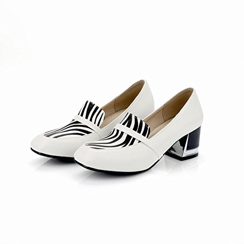 Charm Foot Womens Vintage Style Chunky Heel Pumps Shoes White TfeHzm