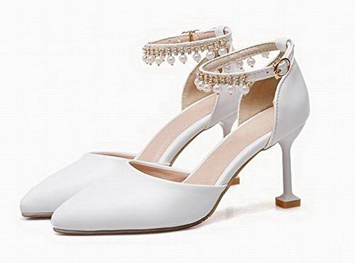 Toe Women's Closed Pu Solid Sandals Buckle WeenFashion White Heels High f0qwwvA