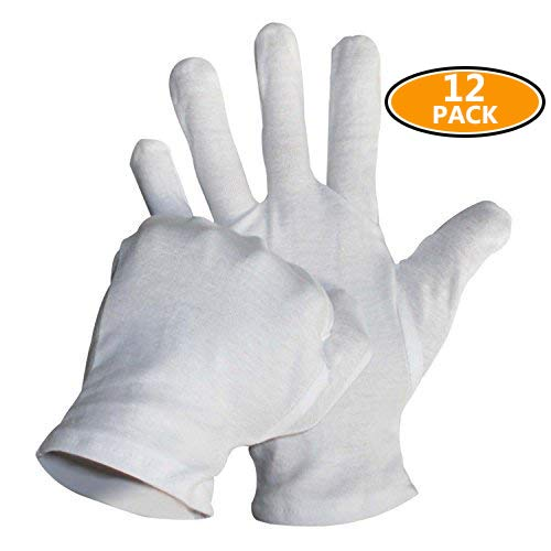 Sonnis 12 Pairs White Cotton Gloves for Cosmetic Moisturizing Coin Jewelry and Hand Spa Large Size by Sonnis (Image #7)