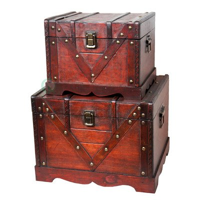 Vintiquewise(TM) Old Style Treasure Chest/Box, Set of 2
