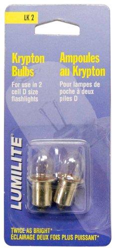 Lumilite LK2 Krypton 2.4V 0.7A Gas Flange Base Bulb for 2D Cell Flashlight, 2-Pack (Krypton Flashlight Light Bulbs)
