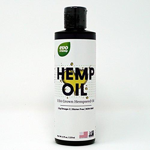 Evo Hemp U.S. Hemp Seed Oil (8 Ounce) With Omega 3s, Omega 6s and GLA/SDA Fatty Acids, Versatile Oil for Cooking or Skincare
