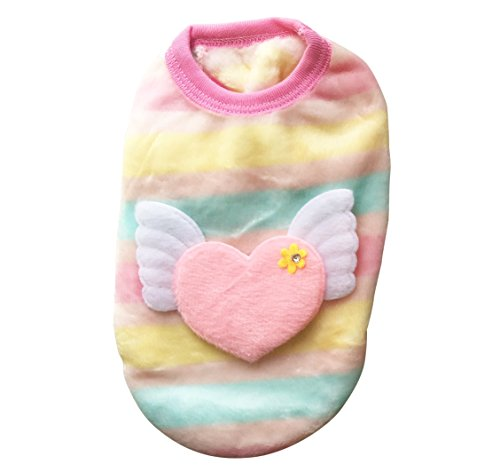 FUNPET Dog Shirts Winter Clothes with Padded Double Fleece for Small Cats and Puppies Pink