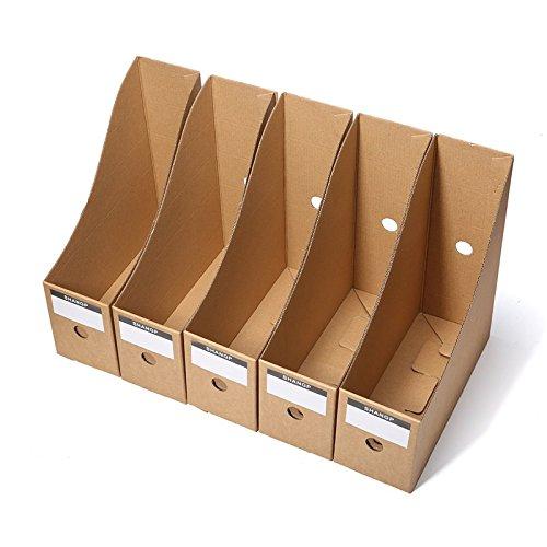 5pcs mesa de papel Kraft caja de almacenamiento marco de libro de carpeta archivo caja de almacenamiento para oficina, casa,...