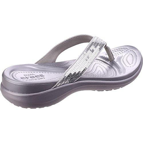 Crocs Womens Capri V Sequin Thong Sandal,Silver,US 4 M