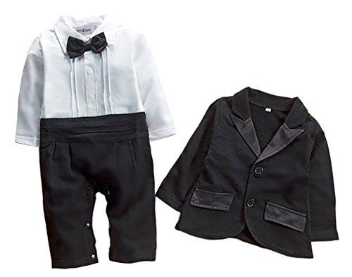stylesilove Baby Boys Tuxedo Wedding Romper and Jacket 2-pc Formal Wear Suit