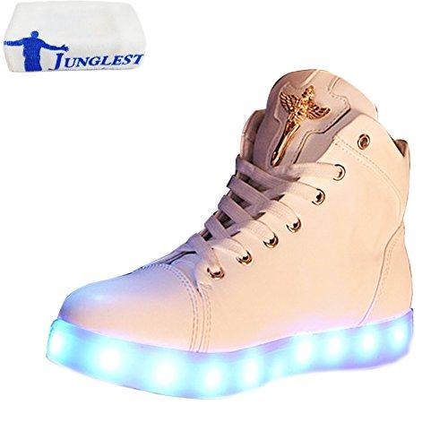 [Presente:pequeña toalla]JUNGLEST® Unisex 7 Colors USB Carga LED Luz Luminosas Flashing Sneakers Altotop Zapatos Zapatillas de Depo c24