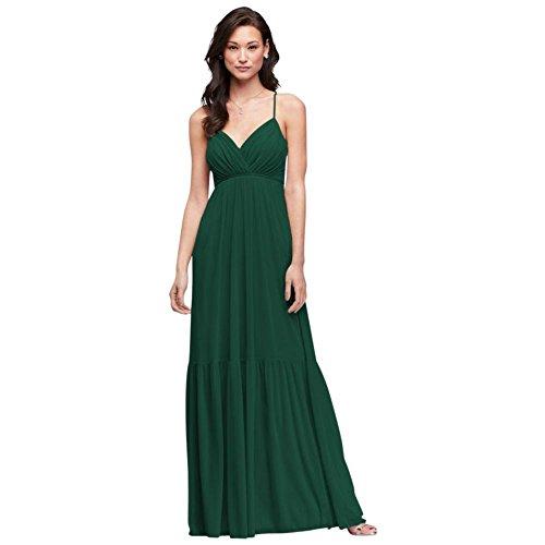 Mesh Surplice Dress - David's Bridal Surplice Mesh Bridesmaid Dress with Peasant Skirt Style F19771, Juniper, 10