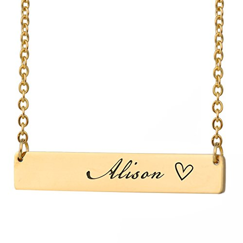 HUAN XUN Alison Name Name Necklace Gold Plated Bar Initial Necklace Personal Jewelry Birthday Valentine Gift