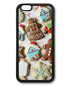iphone 6 4.7 Case, New Year Gingerbread Cookies Snowflakes Slim Fit Case for iphone 6 4.7 Soft TPU Material Black